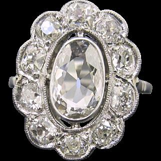RARE 1ct App Table cut diamond cluster ring, 18kt gold and platinum, circa 1910