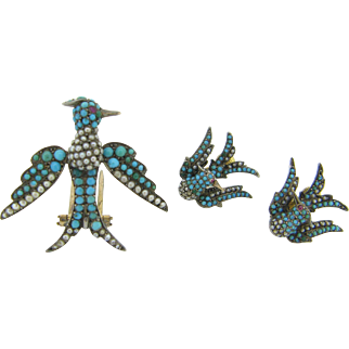 French Victorian Set, brooch and earrings, turquoises and seed pearl, 18kt gold and silver, c.1880