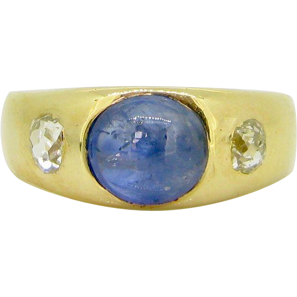 Victorian GYPSY Cabochon cut Sapphire and diamonds ring, 18kt gold, c.1880