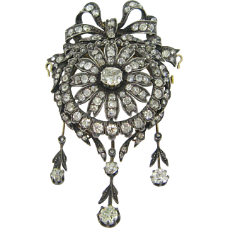 Stunning Victorian Diamonds brooch, 18kt gold and silver, c.1880