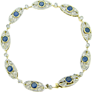 French Edwardian Sapphires and diamonds bracelet, 18kt gold and platinum, Belle Epoque, circa 1905