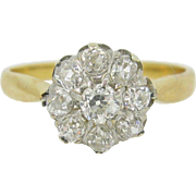 Exquisite Edwardian diamonds cluster ring, 18kt gold and platinum, c. 1900