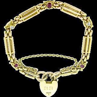 Antique Locket bracelet, 15kt gold, UK, 1914