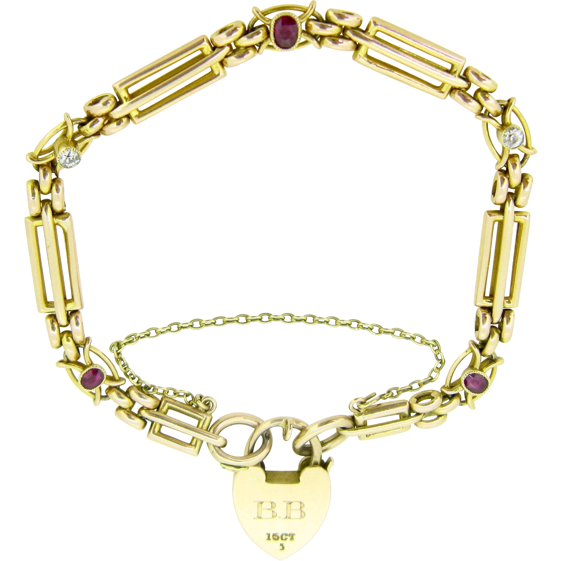 Antique Locket bracelet, 15kt gold, UK, 1914