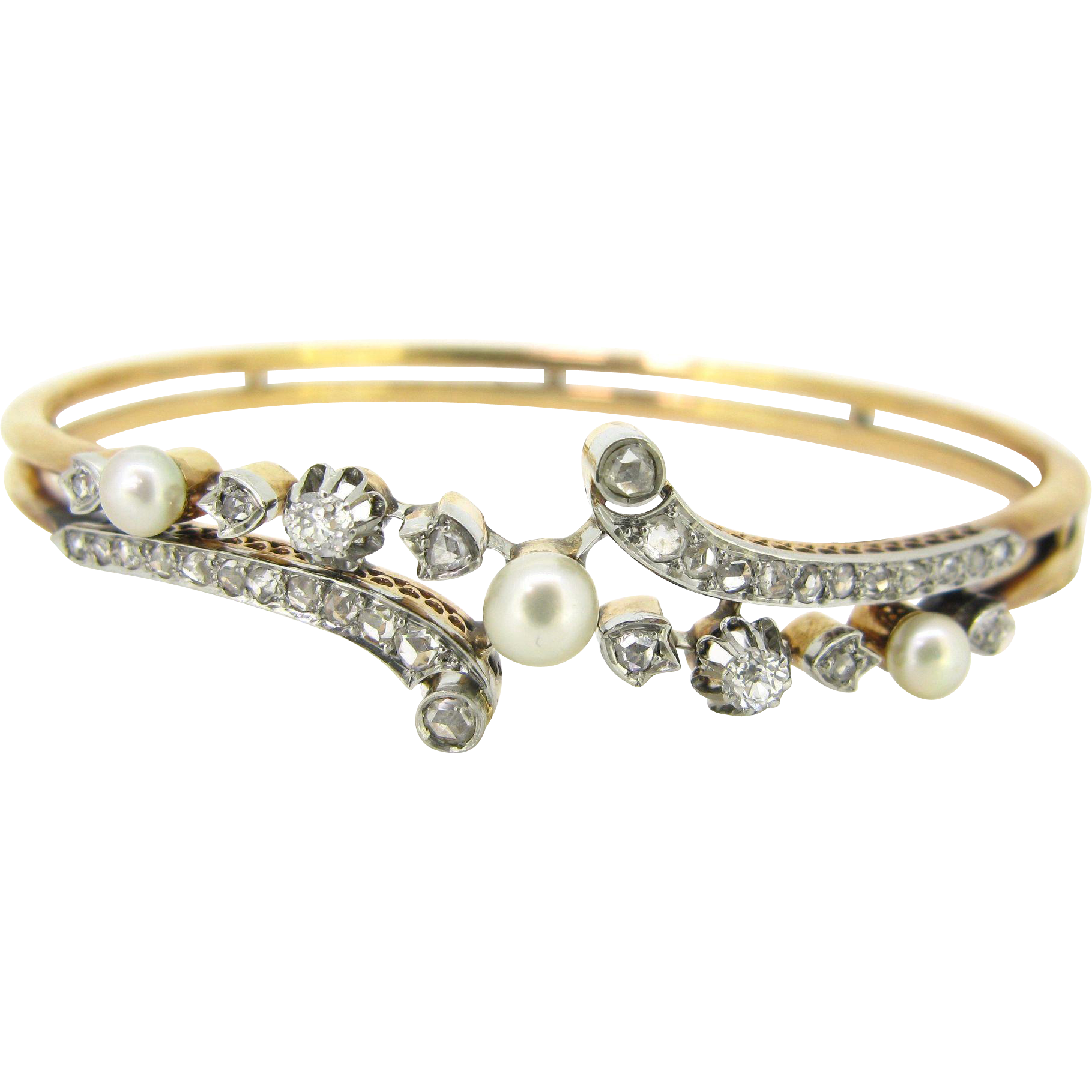 Antique French Bangle, Fine pearls and diamonds, 18kt gold and silver, c.1900