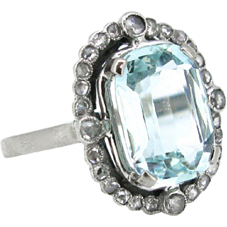 Antique FRENCH Belle Epoque / Edwardian Aquamarine and diamonds ring, platinum, c.1905
