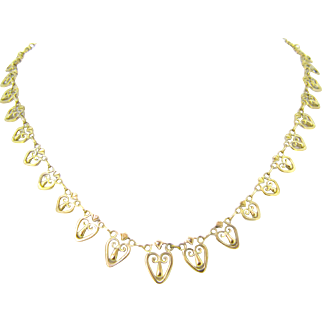 French Art Nouveau 18kt gold necklace, circa 1905