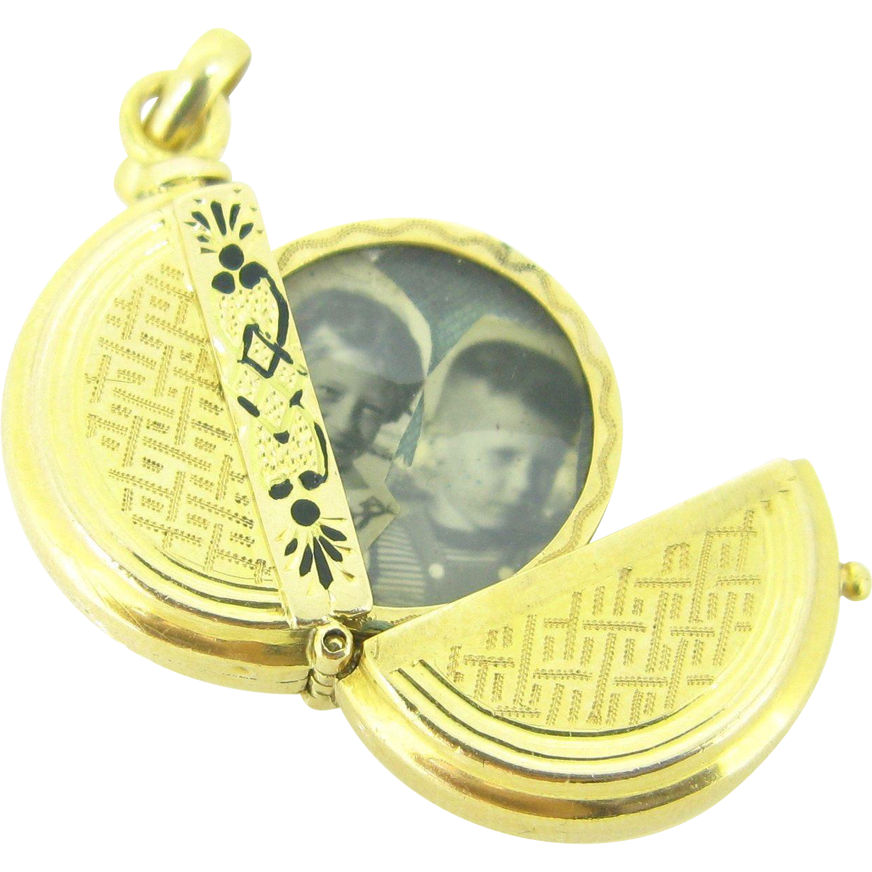 RARE French Double Pictures locket, 18kt gold, circa 1910