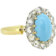 Antique Turquoise and Rose cut diamonds ring, 18kt gold and platinum circa 1910