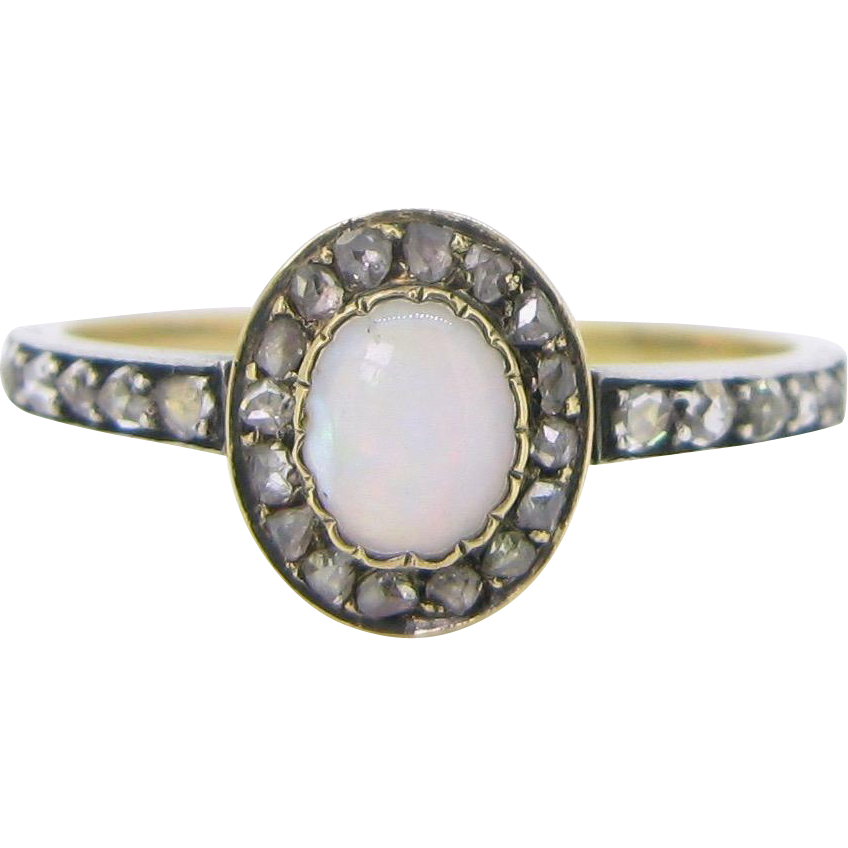 Victorian Opal and rose cut diamonds ring, 18kt gold and silver, circa 1900