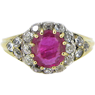 French Victorian Ruby and Diamonds ring, 18kt gold and silver, c.1880