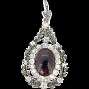 Stunning Edwardian Garnet & Diamonds pendant, 18kt gold and silver, circa 1905