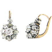 Antique French Diamonds dormeuses / earrings 18kt gold and silver circa 1880