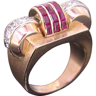 Vintage Tank ring, diamonds and rubies, 9kt gold and platinum