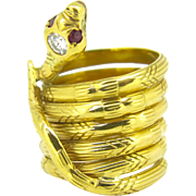 Stunning French Snake diamond ring, 18kt gold, Art Nouveau circa 1910