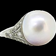 Edwardian Mabe and diamonds ring, platinum, circa 1910