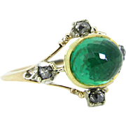 Stunning Georgian Emerald and diamonds ring, 18kt gold and silver, circa 1830