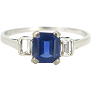 French Art Deco Sapphire and Diamonds ring, platinum, circa 1920