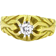 French Art Nouveau Diamond ring, Gypsy ring, 18kt gold and platinum circa 1900