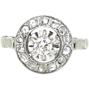 Stunning French Edwardian Diamonds ring, 18kt gold and platinum, c.1915