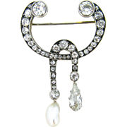 Antique Victorian Diamonds and pearl brooch, 14kt gold and silver