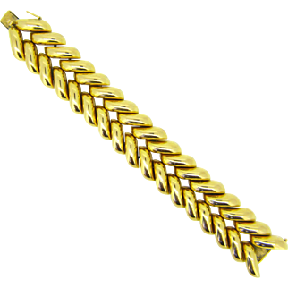 Retro 18kt gold Bun Tank bracelet, French, circa 1950