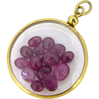 Late 19th Century Locket with rubies, 18kt gold, France