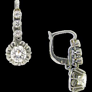 French Art Deco Diamonds earrings, platinum, circa 1930