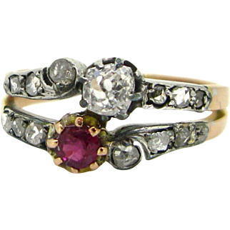 Antique Victorian ruby and diamonds ring, 18kt gold and silver, circa 1880