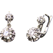 Antique French Dormeuses earrings, diamonds 18kt gold and platinum, c.1930