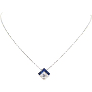 French Art Deco Sapphires and diamonds necklace, 18kt gold and platinum, circa 1925