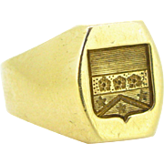 Vintage French Family Crest Signet ring, 18kt gold