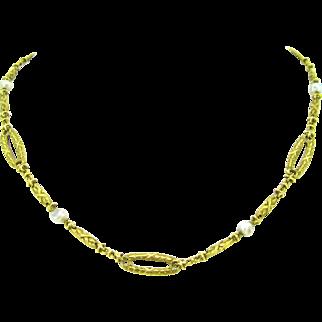 French Art Nouveau 18kt gold necklace, circa 1905