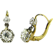 Antique dangling diamonds dormeuses / earrings, 18kt gold and platinum, c.1910
