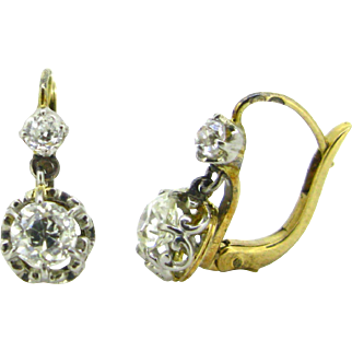 Antique dangling diamonds dormeuses / earrings, 18kt gold and platinum, c.1910