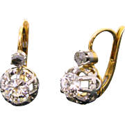French Antique diamonds dormeuses / earrings, 18kt gold and platinum, c.1910