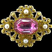 a rare Antique Victorian pink foiled Quartz & pearls brooch, 18kt gold, circa 1850