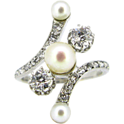 Antique Edwardian Diamonds and pearls ring, 18kt gold and platinum, circa 1920