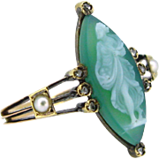 French Antique Agate Cameo ring, 18kt rose gold circa 1880
