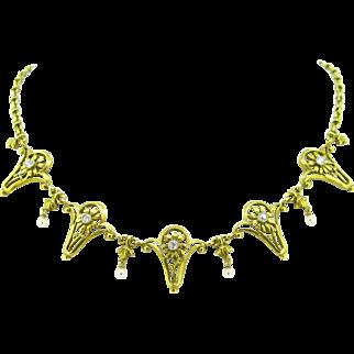 French Art Nouveau Diamonds necklace / draperie, 18kt gold and platinum, circa 1905