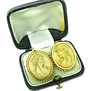 Antique Victorian Lava Cameo earrings, 18kt gold, circa 1880