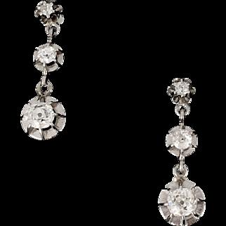 Art Deco Diamonds earrings, 18kt gold and platinum, circa 1930