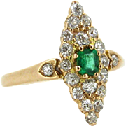 Ravishing Victorian Emerald and diamonds marquise ring, 14kt gold