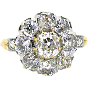 Edwardian diamonds cluster ring, 18kt gold and platinum, c. 1910