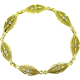 Antique French Plain gold and diamonds Bracelet, 18kt gold, Art Nouveau, c.1905