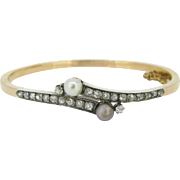 Antique 2 Naturals pearls and diamonds bangle, 18kt gold and silver, French bangle, c.1900