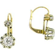 Antique French Dormeuses earrings, old mine cut diamonds 18kt gold, c.1900