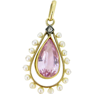 Lovely Victorian Pink topaze and pearls pendant, 18kt gold, c.1880