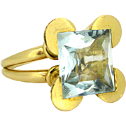 Vintage Retro Aquamarine ring, 18kt gold, circa 1950
