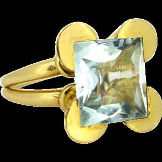 Vintage Retro Aquamarine ring, 18kt gold, circa 1950